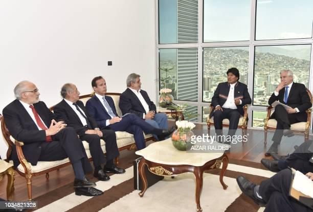 Bolivia's President Evo Morales and Vice President Alvaro Garcia Linera hold a meeting with Bolivia's former presidents Carlos Mesa Guido Bildoso...