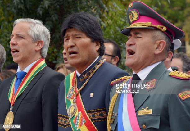 Bolivia's President Evo Morales Ayma Vicepresident Alvaro Garcia Linera and Commander in Chief of the Armed Forces General Luis Orlando Arinez Bazan...