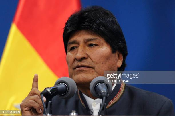 Bolivia's President Evo Morales delivers a press conference in La Paz on October 31, 2019. - A technical mission from the Organization of American...