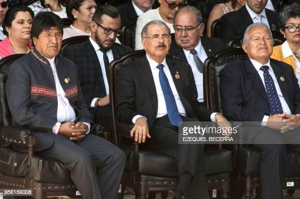 Bolivia's President Evo Morales Dominican Republic's President Danilo Medina and El Salvador's President Salvador Sanchez Ceren attend Costa Rican...