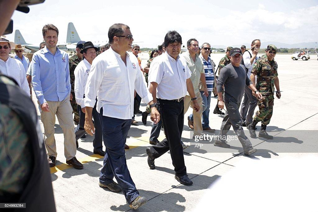ECUADOR-BOLIVIA-QUAKE-CORREA-MORALES : News Photo