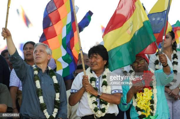 Bolivia's President Evo Morales Vice President Alvaro Garcia LInera and Venezuela's Vice President Aristobulo Isturiz take part in the Day of...