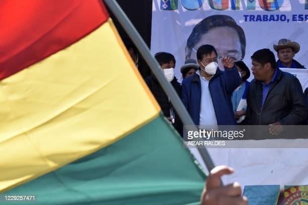 Bolivia's President-elect Luis Arce, celebrates his victory of the general election during a rally in El Alto, Bolivia on October 24, 2020. -...