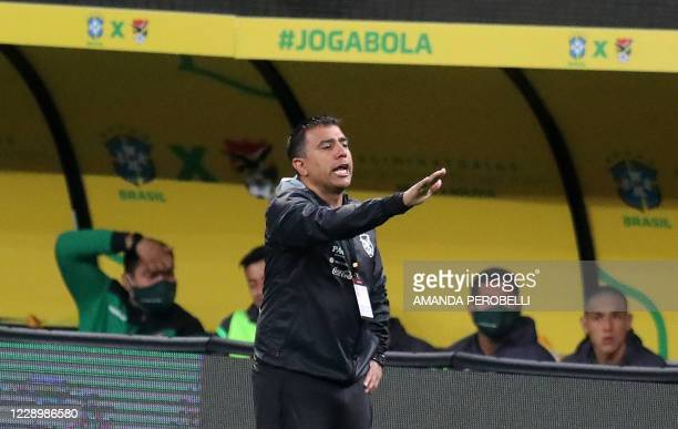 Bolivia's Venezuelan coach Cesar Farias is pictured during the 2022 FIFA World Cup South American qualifier football match against Brazil at the Neo...