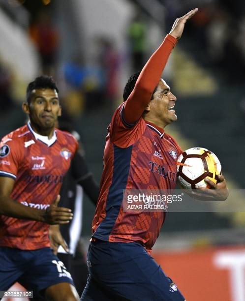 Bolivia's Wilstermann player Edward Zenteno celebrates after scoring against Brazil's Vasco Da Gama during their Copa Libertadores match at Patria...