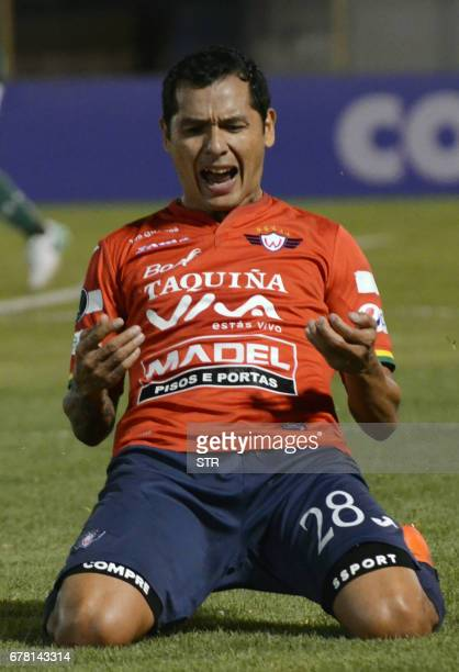 Bolivia's Wilstermann player Omar Morales celebrates after scoring against Palmeiras of Brazil during their Copa Libertadores match at the Felix...