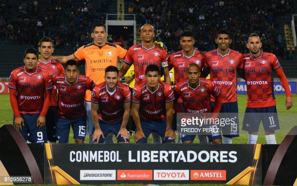 Bolivia's Wilstermann players pose before their Copa Libertadores football match against Bolivia's Oriente Petrolero at Patria Stadium in Sucre...
