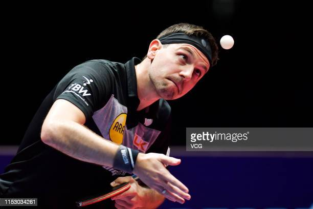 Boll Timo of Germany competes in the Men's Singles quarterfinal match against Xu Xin of China on day five of the Seamaster 2019 ITTF World Tour...