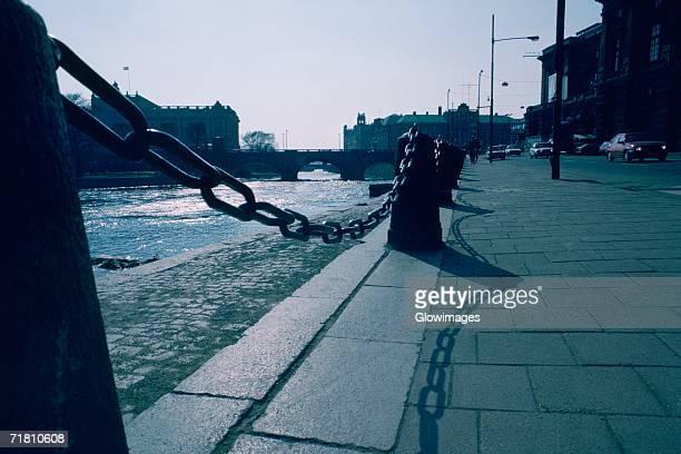 Bollard along a sidewalk, Stockholm, Sweden