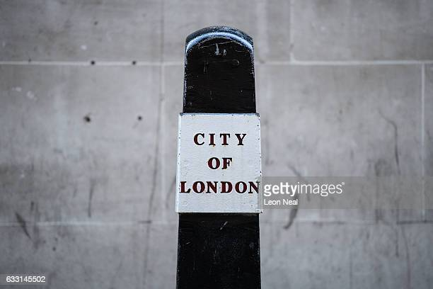 A bollard marking the City of London is seen in the financial district also known as the Square Mile on January 20 2017 in London England Following...