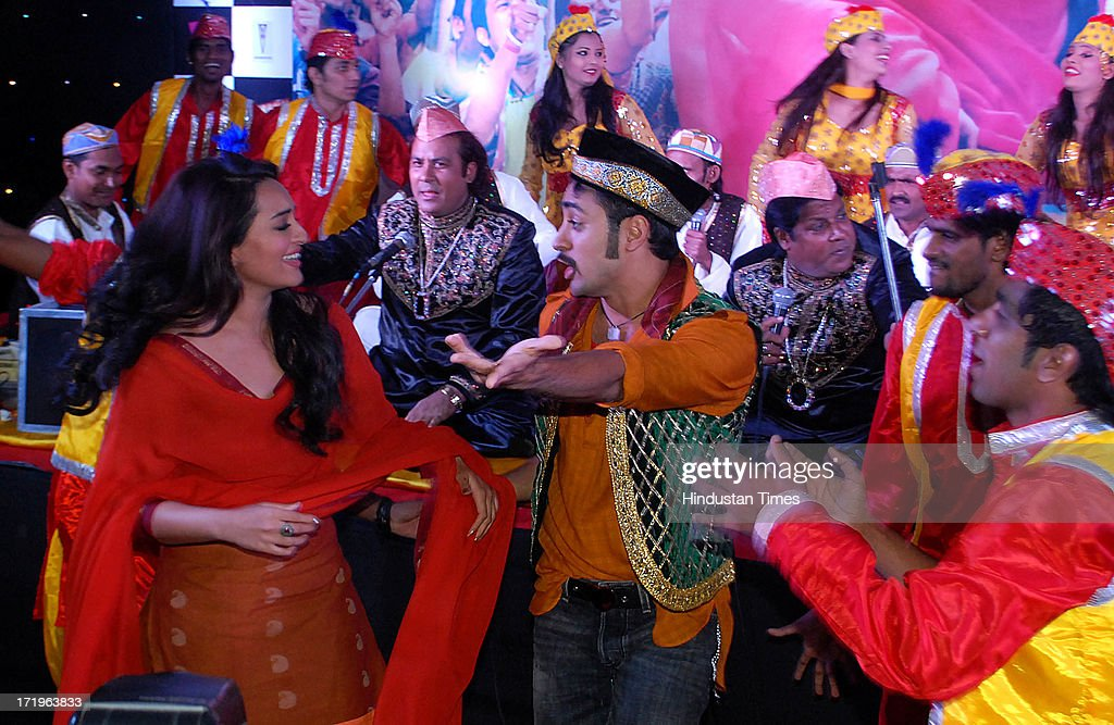 Bollywod actors Sonakshi Sinha and Imran Khan perform during the launch of song Tayyab Ali for the movie Once Upon a Time in Mumbaai Dobara at Dongri.