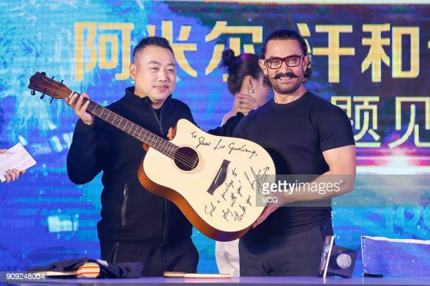 Bollywood actor Aamir Khan and former Chinese table tennis player Liu Guoliang attend 'Secret Superstar' press conference on January 23 2018 in...