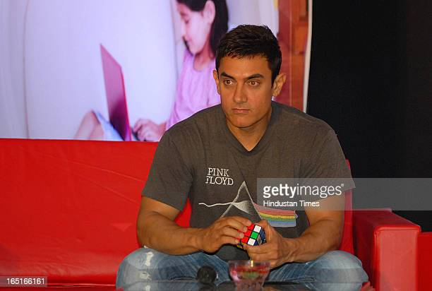 Bollywood actor Aamir Khan at an event held to felicitate the winners of MicrosoftTalaash contest held at Hotel Taj Lands End Bandra on March 30 2013...