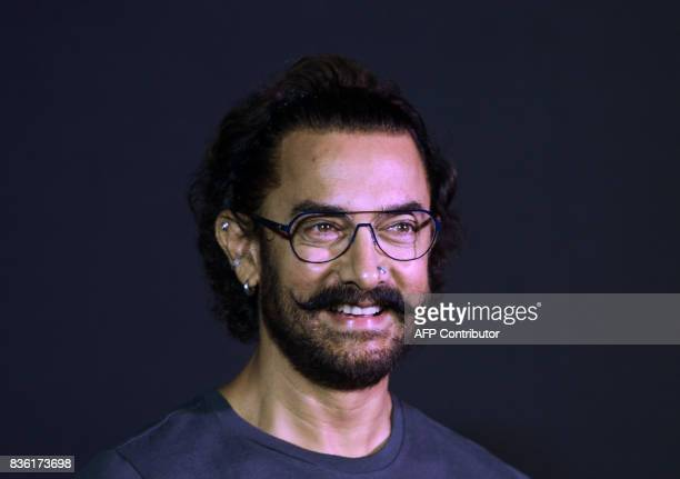 Bollywood actor Aamir Khan attends a news conference to launch a music track of his new film 'Secret Superstar' in Mumbai on August 21 2017 The film...