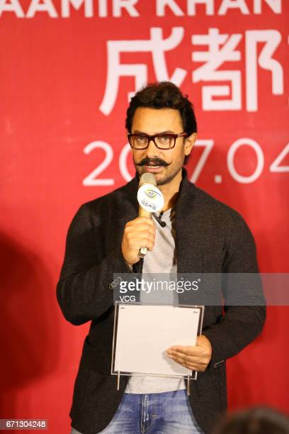 Bollywood actor Aamir Khan attends 'Dangal' press conference on April 20 2017 in Chengdu China