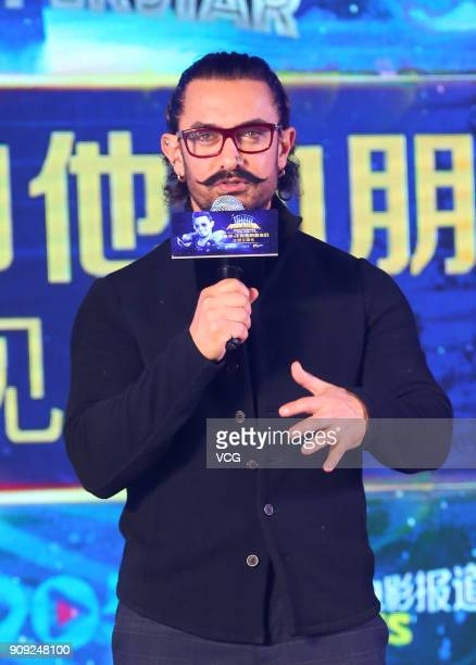 Bollywood actor Aamir Khan attends 'Secret Superstar' press conference on January 23 2018 in Beijing China
