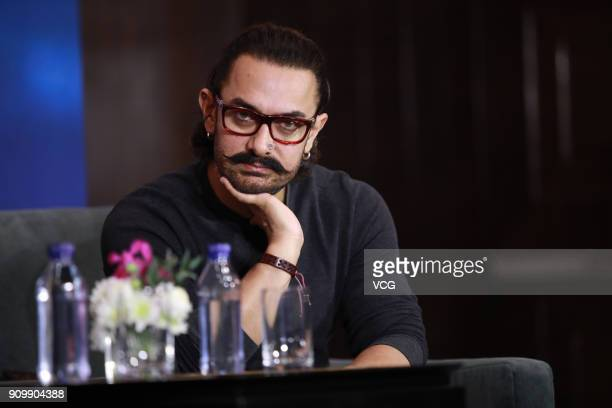 Bollywood actor Aamir Khan attends 'Secret Superstar' press conference on January 24 2018 in Beijing China