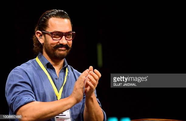 Bollywood actor Aamir Khan attends the 5th Indian Screenwriters Conference in Mumbai on August 1 2018