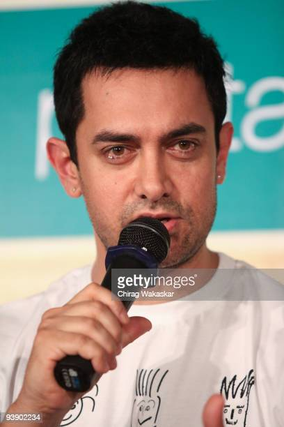 Bollywood actor Aamir Khan attends the launch of Pantaloons '3 Idiots' Tshirt Collection held at Phoenix Mall on December 4 2009 in Mumbai India