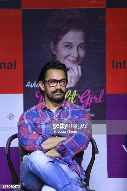 Bollywood actor Aamir Khan during the launch of Asha Parekh's autobiography The Hit Girl cowritten with film critic Khalid Mohamed on April 30 in New...