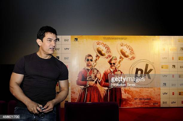 Bollywood actor Aamir Khan during the launch of song from the upcoming Bollywood movie PK on November 8 2014 in Noida India The song is a dedication...