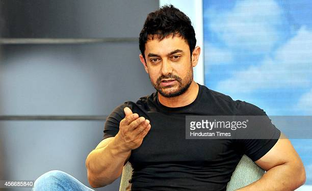 Bollywood actor Aamir Khan during the press conference for the promotion of new season of 'Satyamev Jayate' serial on October 5, 2014 in Chandigarh,...