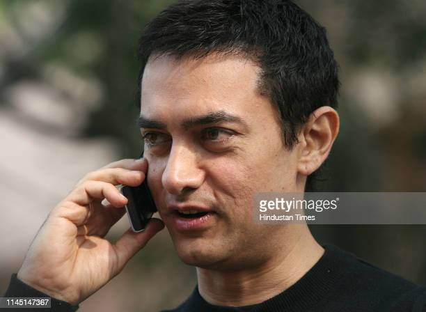 Bollywood actor Aamir Khan during the promotion of his forthcoming film 'Ghajini' on December 21 2008 in New Delhi India