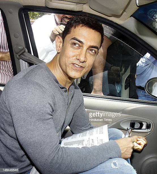 Bollywood actor Aamir Khan leaves after meeting with Prime Minister Manmohan Singh at the PM House on July 16 2012 in New Delhi India The actor...