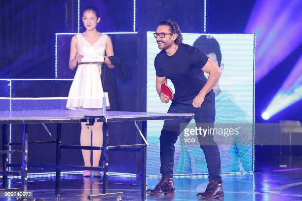 Bollywood actor Aamir Khan plays table tennis during 'Secret Superstar' press conference on January 23 2018 in Beijing China