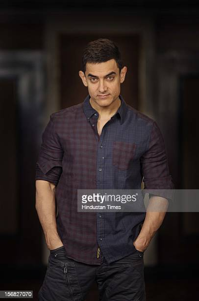 Bollywood actor Aamir Khan poses for a picture at Taj Lands End Bandra on November 15 2012 in Mumbai India