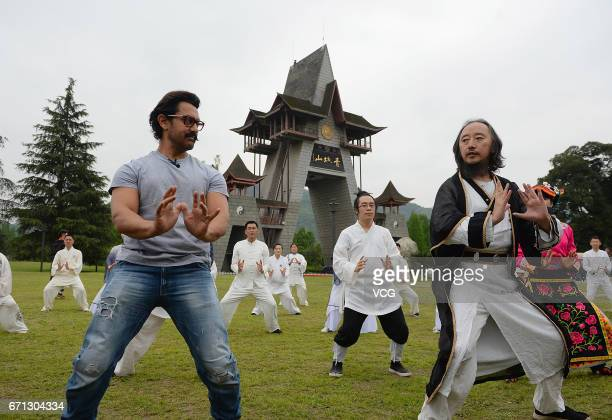 Bollywood actor Aamir Khan practices Tai Chi at Mount Qingcheng on April 20 2017 in Chengdu China
