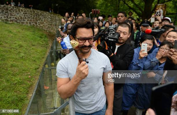 Bollywood actor Aamir Khan visits the Dujiangyan base of the China Conservation and Research Center for Giant Pandas on April 20, 2017 in Chengdu,...