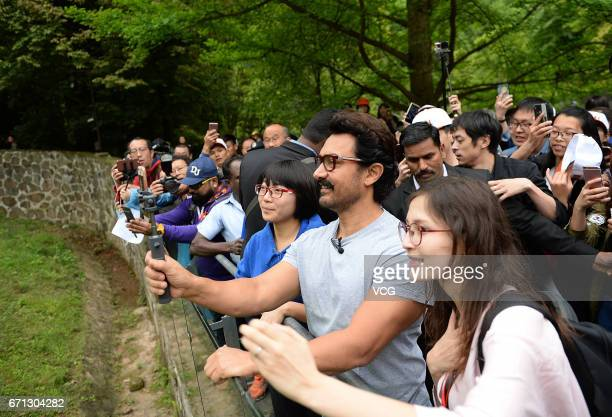 Bollywood actor Aamir Khan visits the Dujiangyan base of the China Conservation and Research Center for Giant Pandas on April 20 2017 in Chengdu China