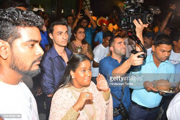 Bollywood actor Aayush Sharma and Arpita Khan Sharma during Ganpati Visharjan at their residence at Bandra on September 15 2018 in Mumbai India