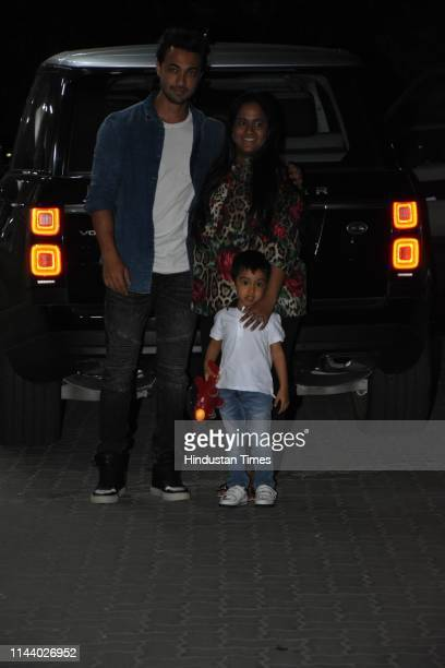 Bollywood actor Aayush Sharma with his wife Arpita Khan spotted on May 13 2019 in Mumbai India