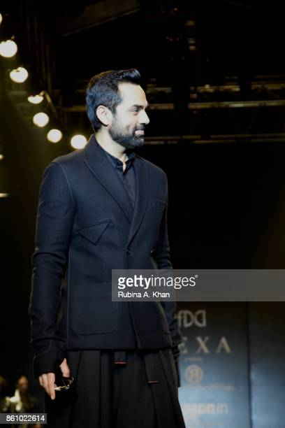 Bollywood actor Abhay Deol walks for Rajesh Pratap Singh wearing bespoke Indie Eye sunglasses at the Fashion Design Council of India's 30th edition...