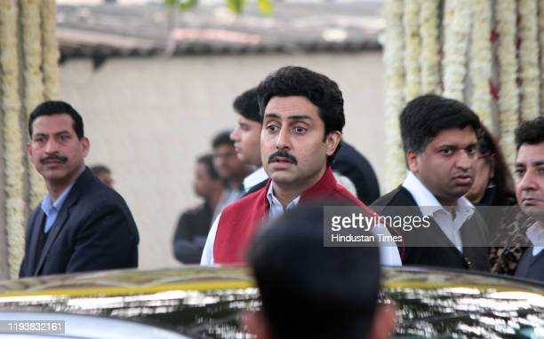 Bollywood actor Abhishek Bachchan at the funeral of Ritu Nanda at Lodhi Road Crematorium on January 14 2020 in New Delhi India Ritu Nanda daughter of...