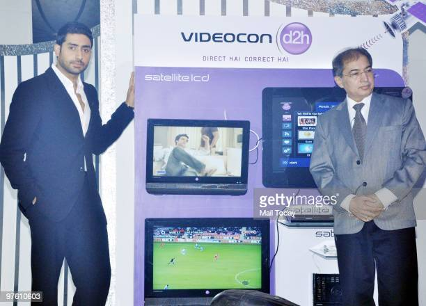 Bollywood actor Abhishek Bachchan poses after becoming the Brand Ambassador of Videocon's d2h in Mumbai in Mumbai on March 9 2010
