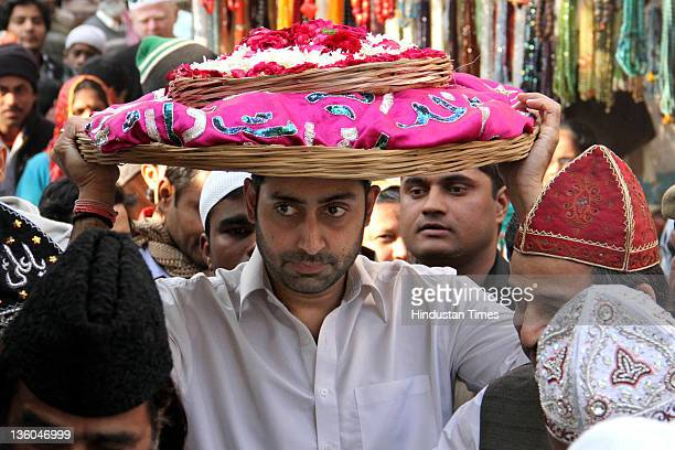 Bollywood actor Abhishek Bachchan visits the shrine of Sufi Saint Khwaja Moinuddin Chishti on December 21 2011 Ajmer India The actor took time off...