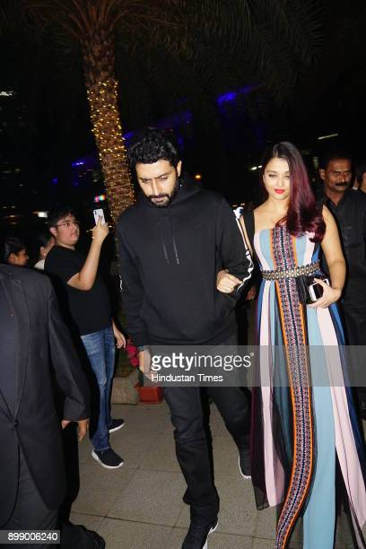 Bollywood actor Abhishek Bachchan with wife Aishwarya Rai Bachchan was spotted at a restaurant on December 24 2017 in Mumbai India