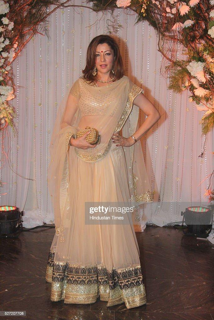 Bollywood actor Aditi Gowitrikar at wedding reception of couple Bipasha Basu and Karan Singh on April 30 2016 in Mumbai India Bipasha Basu got...