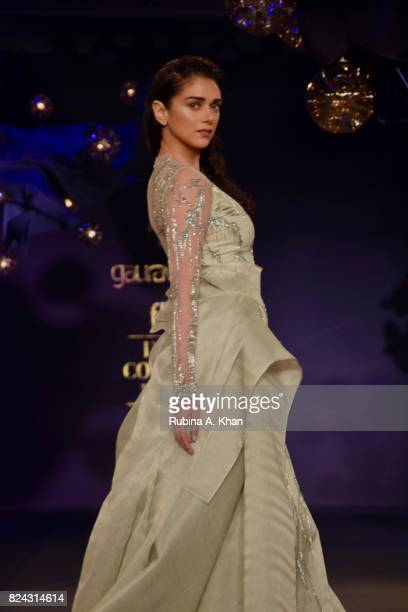 Bollywood actor Aditi Rao Hydari walks for Gaurav Gupta at FDCI's India Couture Week 2017 at the Taj Palace hotel on July 29 2017 in New Delhi India