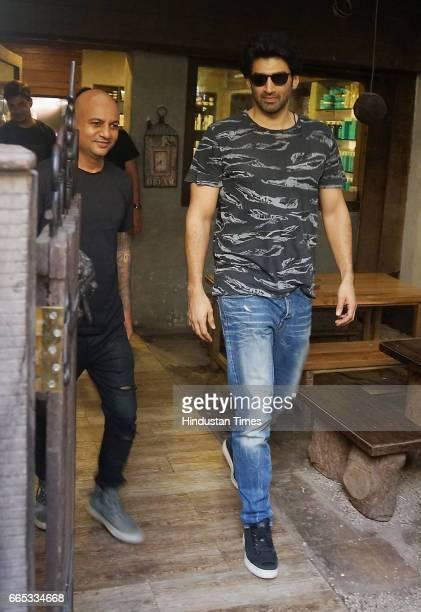 Bollywood actor Aditya Roy Kapoor spotted at Hakim Ali salon on April 4 2017 in Mumbai India