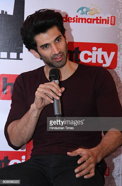 Bollywood actor Aditya Roy Kapur interacts during an interview for the promotion of his upcoming film Fitoor at HT Media Office on February 3 2016 in...