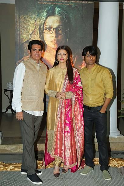 Bollywood actor Aishwarya Rai Bachchan and director Omung Kumar during a poster launch of film Sarbjit at Bharatiya Janata Party President Amit...