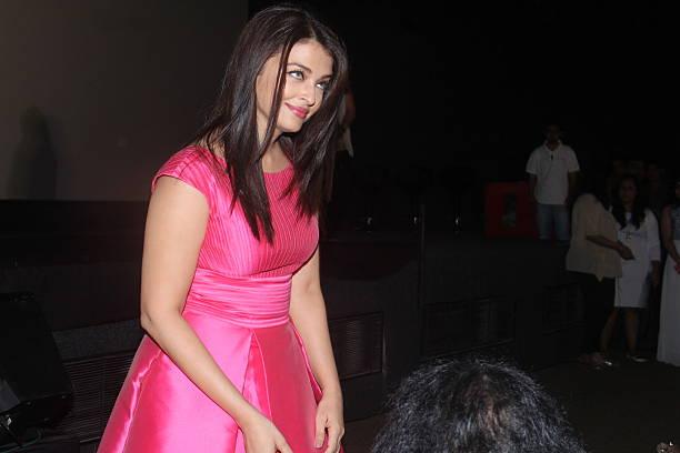 Bollywood actor Aishwarya Rai Bachchan at the trailer launch of upcoming Bollywood movie Sarbjit at Fun Republic Andheri on April 14 2016 in Mumbai...