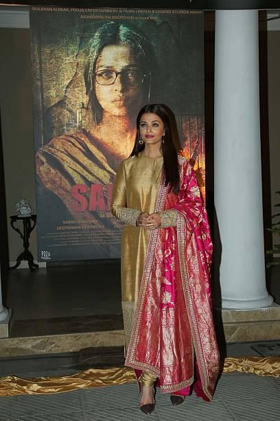 Bollywood actor Aishwarya Rai Bachchan during a poster launch of film Sarbjit at Bharatiya Janata Party President Amit Shah's residence on February...