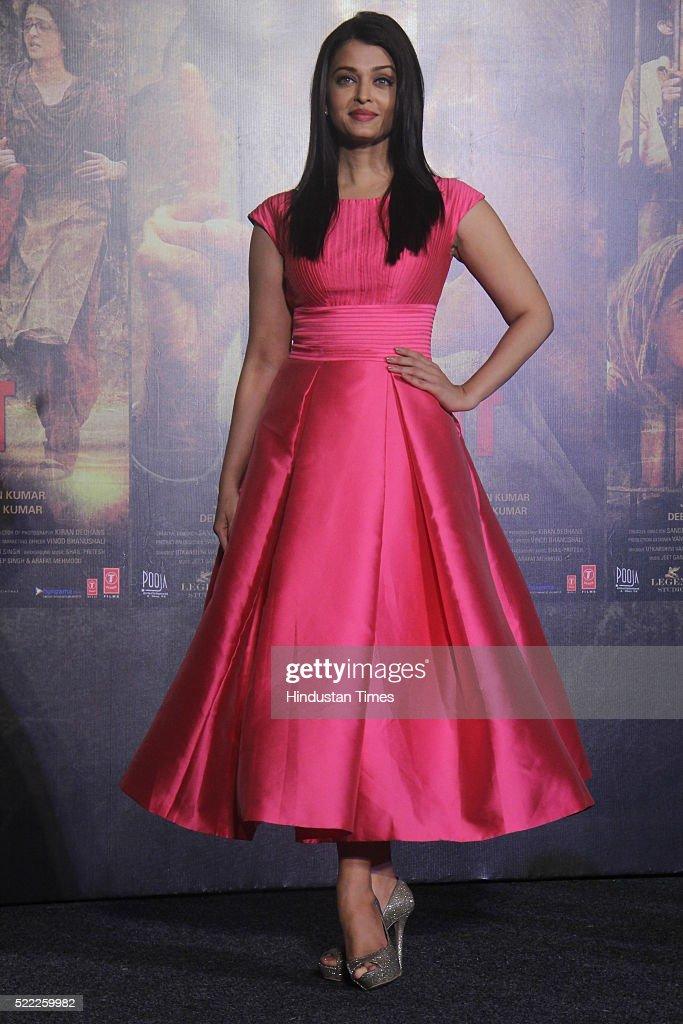 Bollywood actor Aishwarya Rai Bachchan during the trailer launch of upcoming Bollywood movie Sarbjit at Fun Republic Andheri on April 14 2016 in...