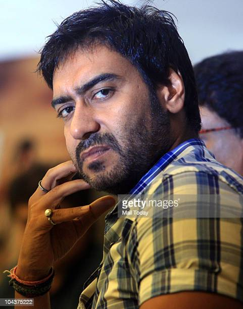 Bollywood actor Ajay Devgan during a promotional event of their upcoming film 'Aakrosh' in New Delhi on September 21 2010