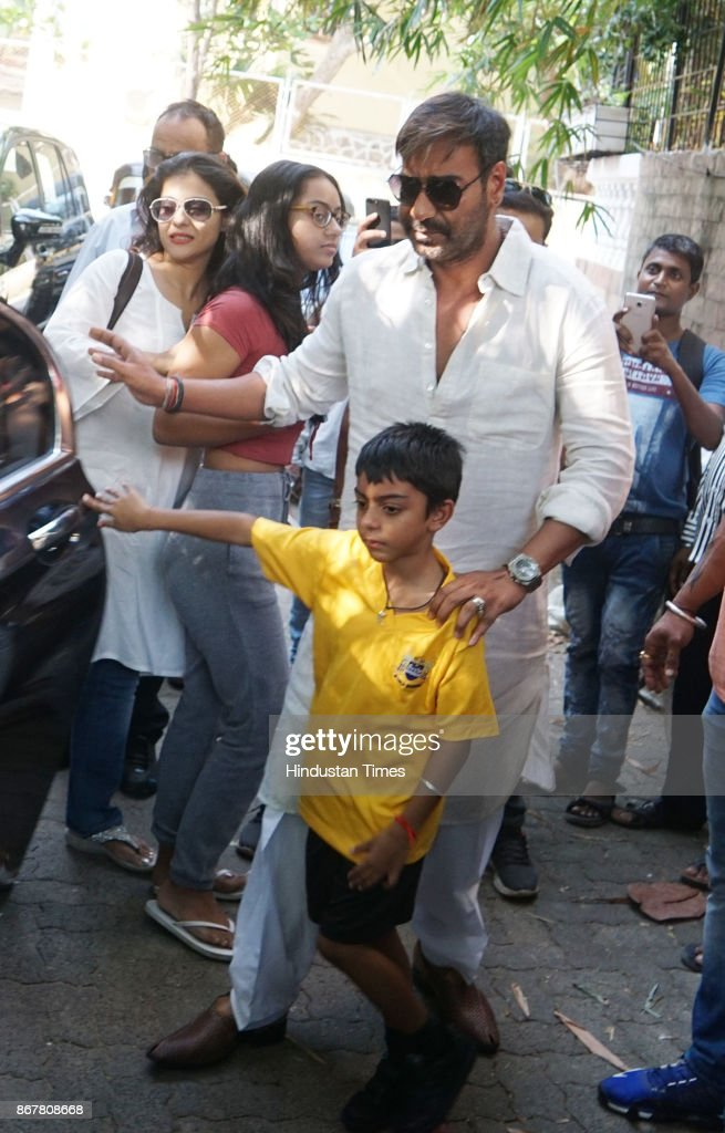 Bollywood actor Ajay Devgn with wife and actor Kajol and kids spotted for watching movie Golmaal Again at Sunny Super Sound Studio Juhu on October 26.